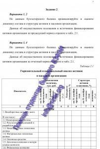 Анализ финансовой отчетности, задания к работе